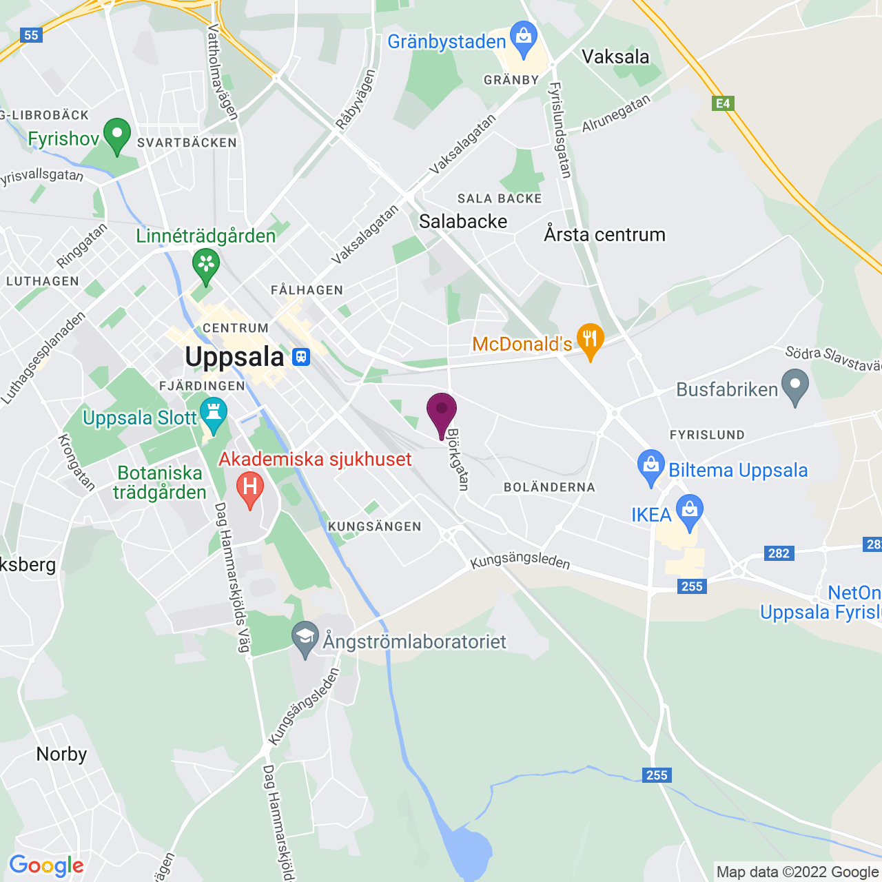 Karta över Björkgatan 67B / Säbygatan 10