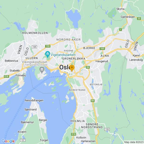Google Map of 59.90681249999999,10.770445699999982