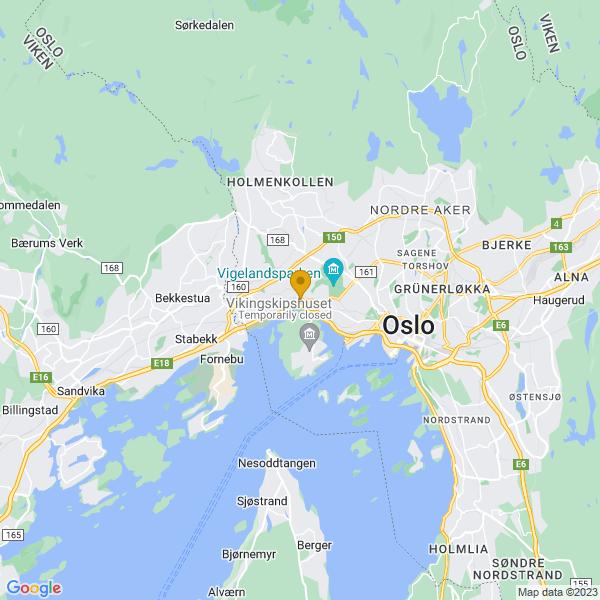 Google Map of 59.92222149007324,10.67808219734498