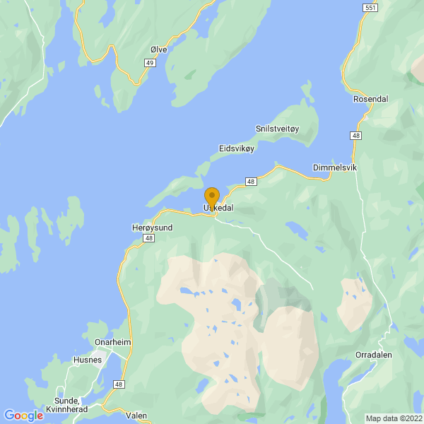 Google Map of 59.9307745,5.8573683