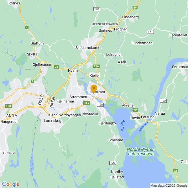 Google Map of 59.953678050661324,11.04452133178711