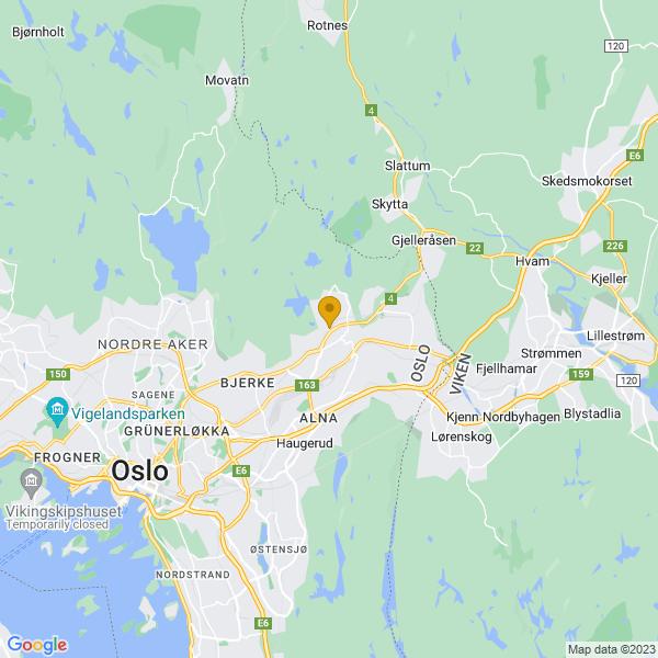 Google Map of 59.9579363,10.8712286