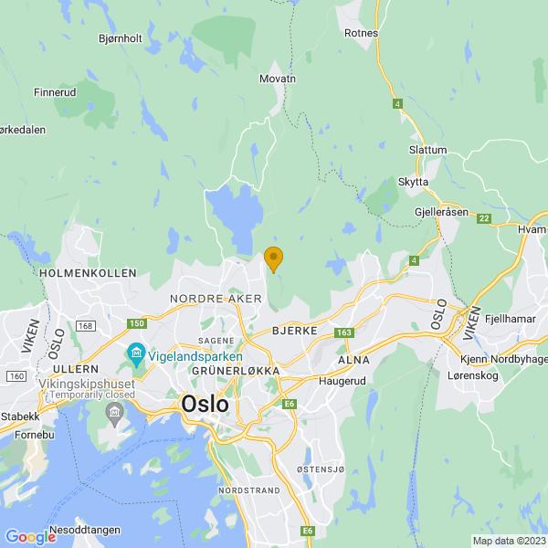 Google Map of 59.96257276979471,10.804216861724854