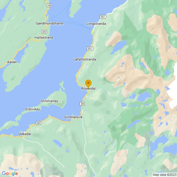 Google Map of 59.98604211367085,6.011516205610228