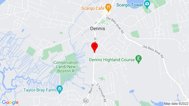 Google Map of 593 Route 6A, Dennis, MA 02638