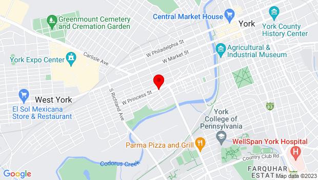 Google Map of 596 W Princess St, York, PA 17401