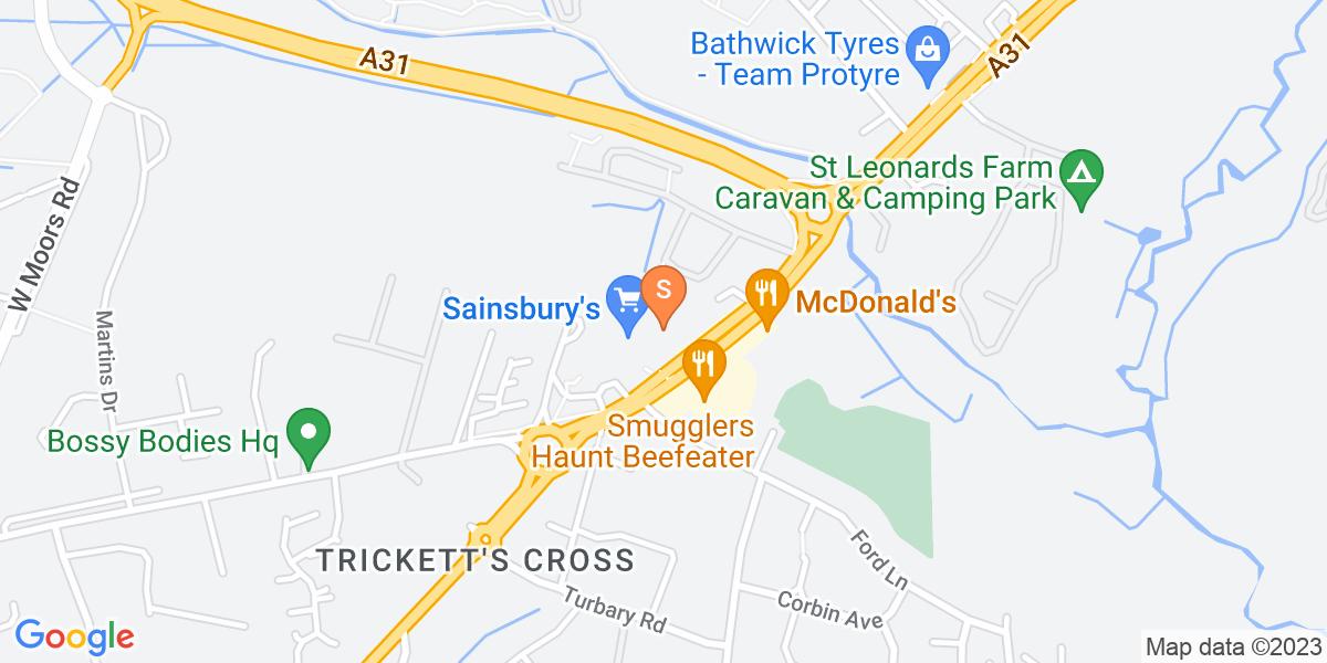 Google Map of 597 Ringwood Road Ferndown BH22 9AL