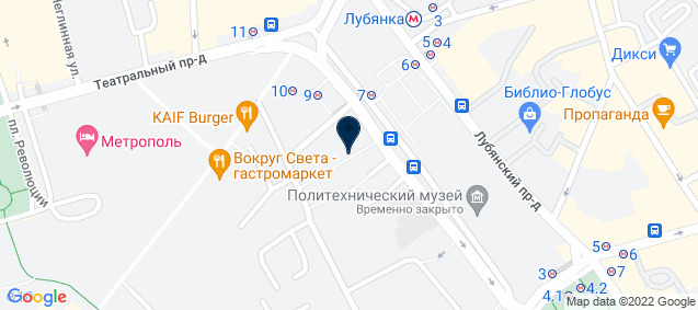 Google Map of 6 Novaya Ploshchad 2nd Floor 109012 Moscow