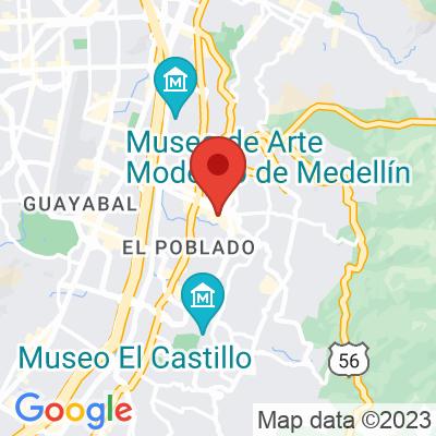 Map showing Pergamino Cafe (Vía Primavera)