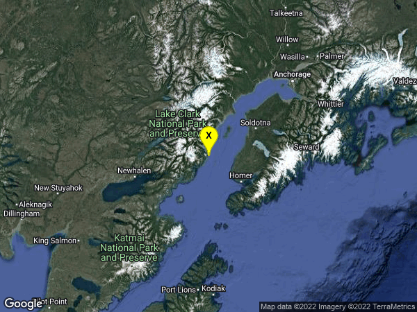 earthquake 47 km WNW of Happy Valley, Alaska