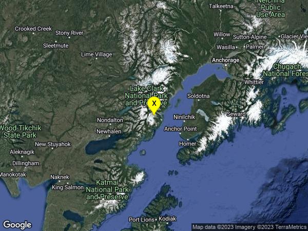 earthquake 38km SSW of Redoubt Volcano, Alaska
