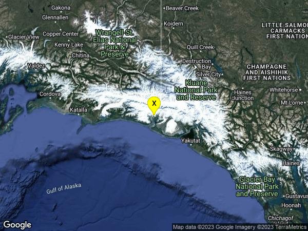 earthquake 63km ENE of Cape Yakataga, Alaska