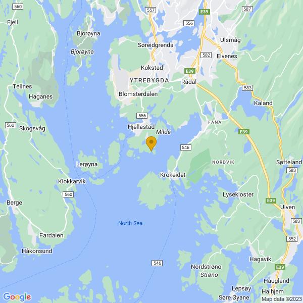 Google Map of 60.2432319175243,5.265007424575794