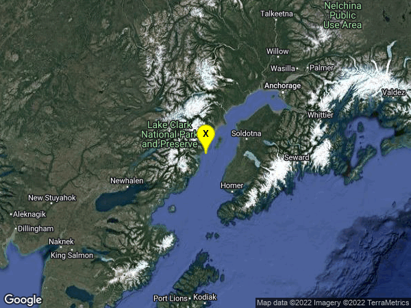 earthquake 45 km WNW of Ninilchik, Alaska