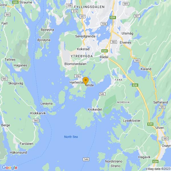 Google Map of 60.25629170000001,5.271612