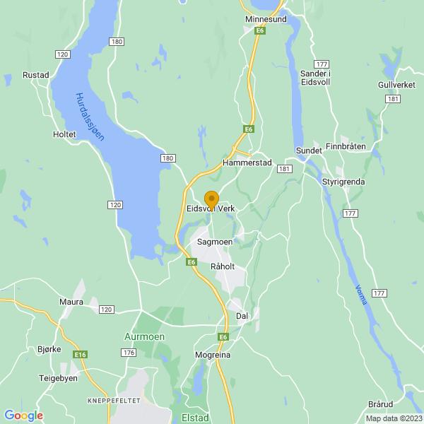 Google Map of 60.30153299999999,11.168182