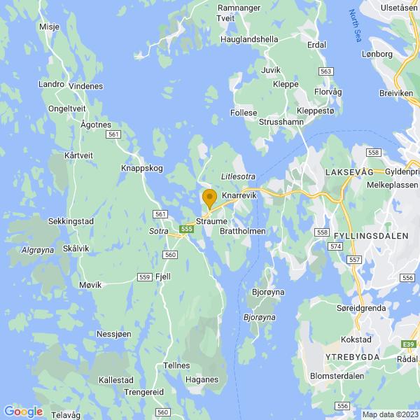 Google Map of 60.36266899999999,5.122171