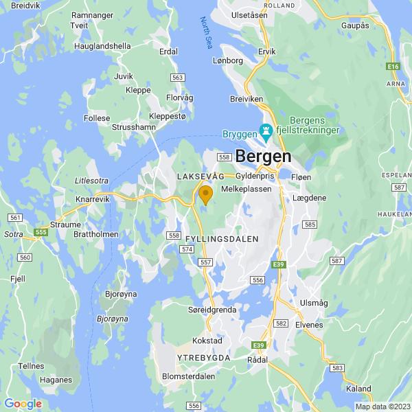 Google Map of 60.366310319696275,5.264248607654576