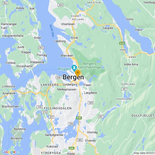 Google Map of 60.39031259999999,5.3333457