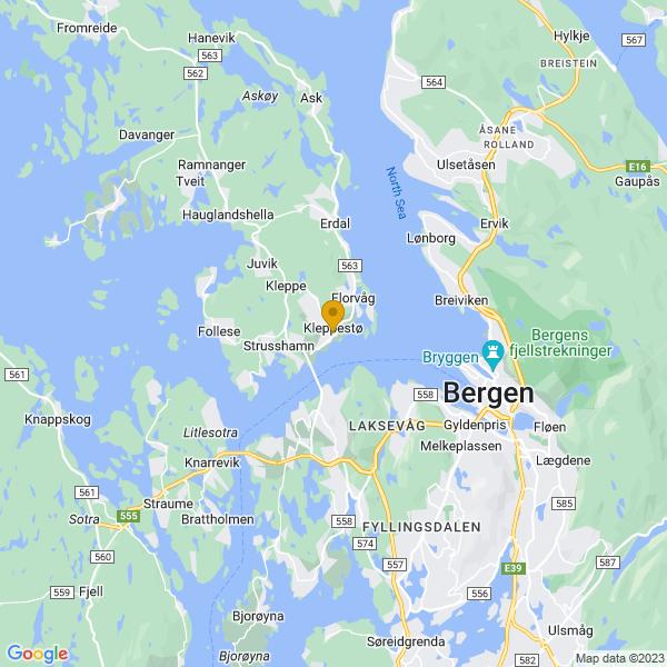 Google Map of 60.40902399999999,5.226024