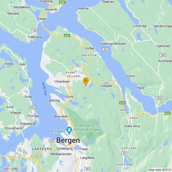 Google Map of 60.45533964288648,5.364668089616598