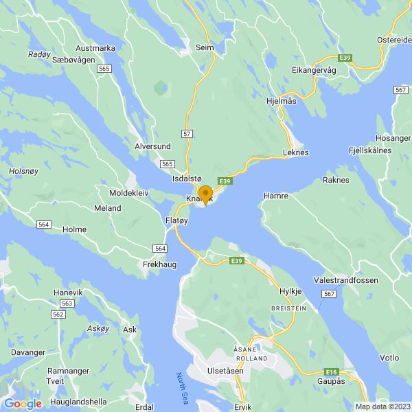 Google Map of 60.54179094654738,5.288222680354746
