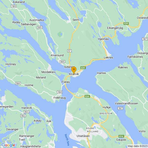 Google Map of 60.545337049260766,5.282091976068273