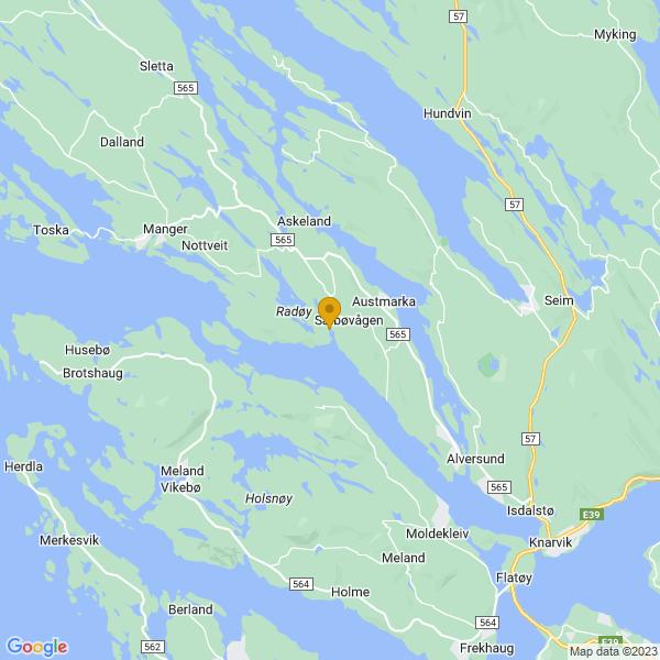 Google Map of 60.61058677581899,5.144337885049546