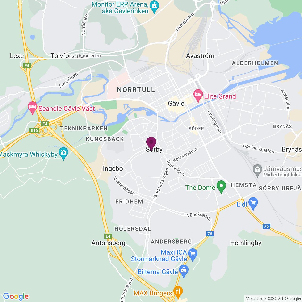 Kort över Lantmäterigatan 2A