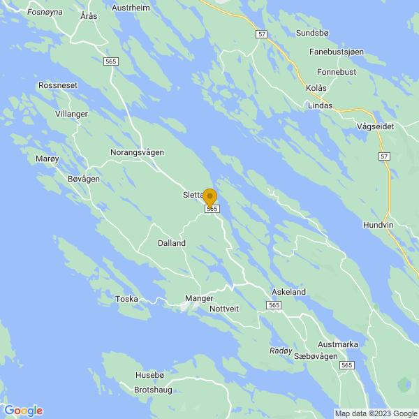 Google Map of 60.6843283,5.0516671