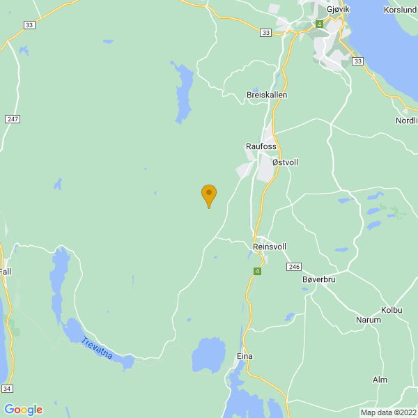 Google Map of 60.69914155064544,10.56470410263298
