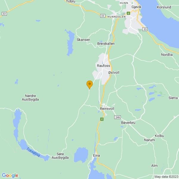 Google Map of 60.70245,10.584028999999987