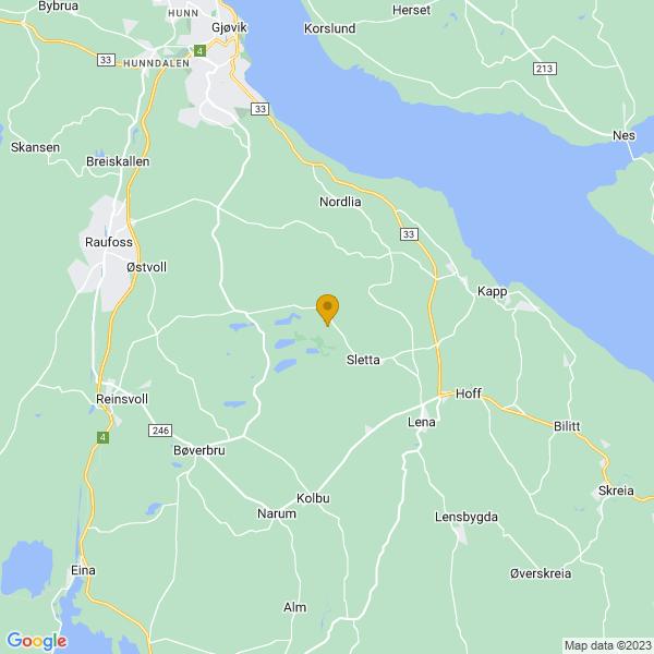 Google Map of 60.7029602,10.753655200000026