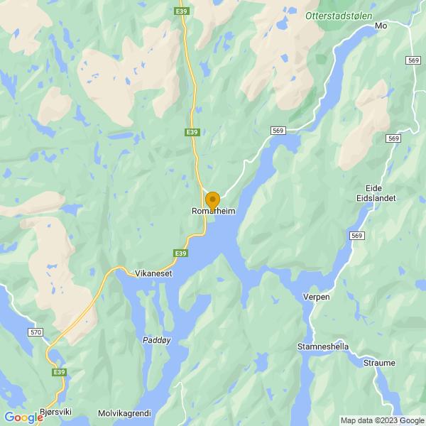 Google Map of 60.72768276300355,5.643456946452874