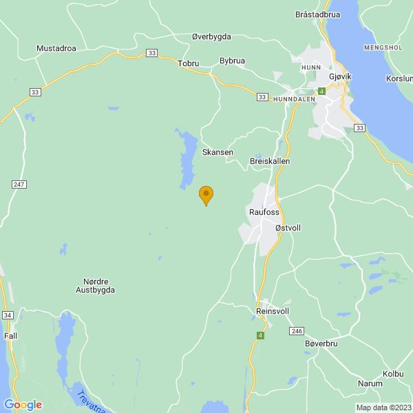 Google Map of 60.732076231163866,10.558429886147941