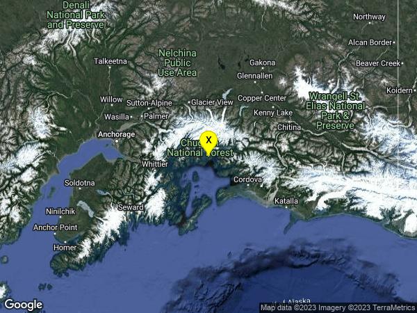earthquake 38km WSW of Valdez, Alaska