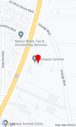 Google Map of Pinnacle Central Company, Inc. 600 N Commonwealth Avenue, Polk City, FL, 33868