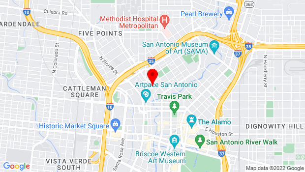 Google Map of 600 Soledad, San Antonio, TX 78205
