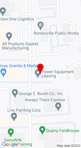 Google Map of Power Equipment Leasing 605 Anderson Drive, Romeoville, IL, 60446
