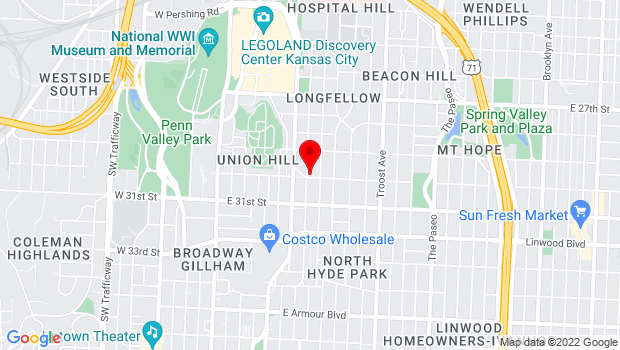 Google Map of 608 E 30th St, Kansas City, MO 64109