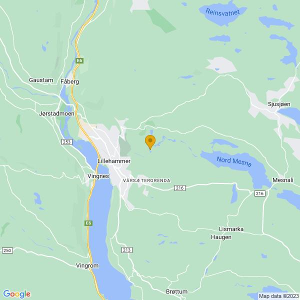 Google Map of 61.1228471,10.5159884