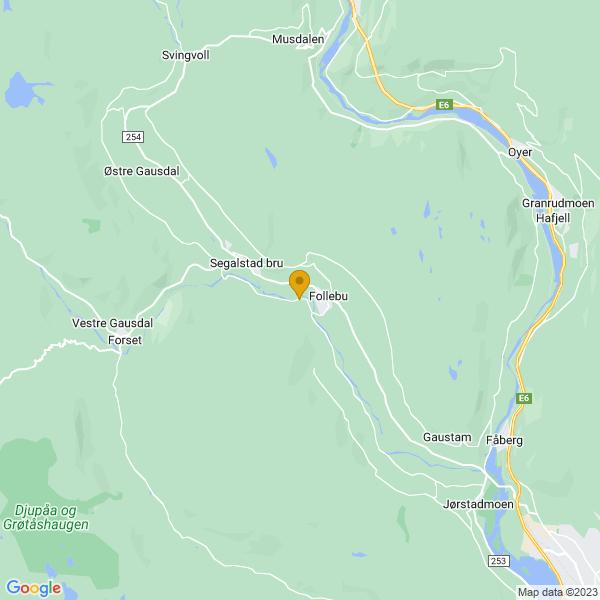 Google Map of 61.21449733276986,10.265219003198517
