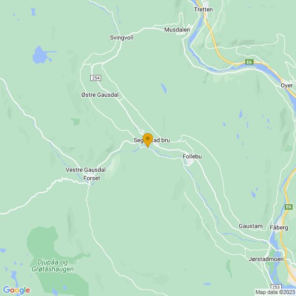 Google Map of 61.2212544,10.223459000000048