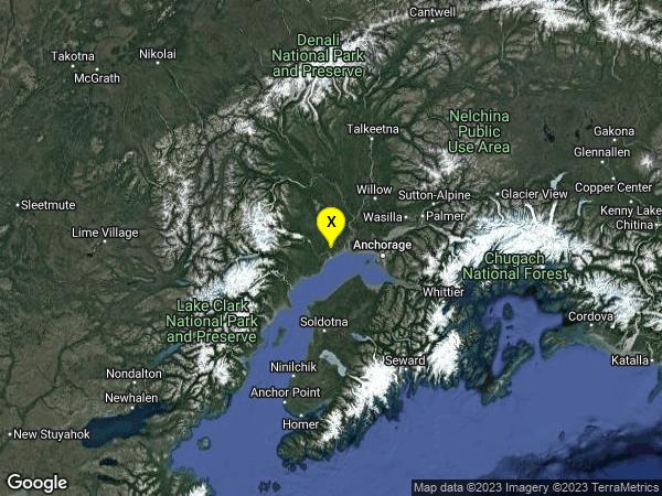 earthquake 56km W of Anchorage, Alaska