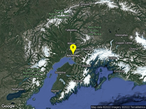 earthquake 16km N of Anchorage, Alaska