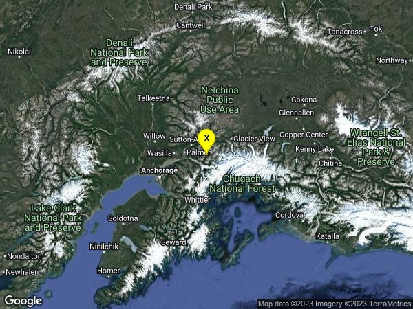 earthquake 29km ESE of Lazy Mountain, Alaska