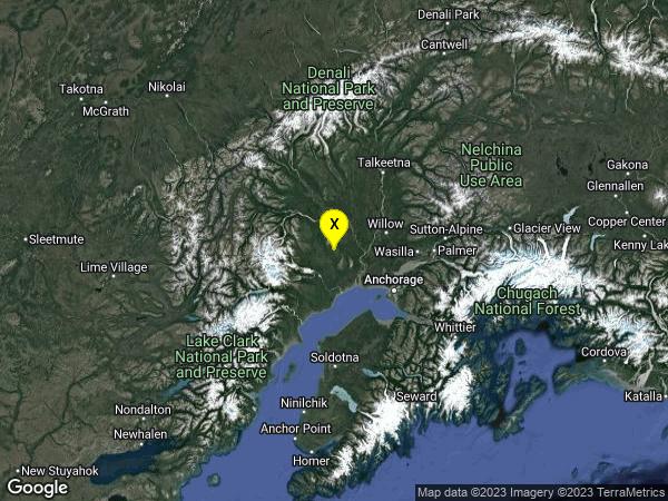 earthquake 57km WSW of Willow, Alaska