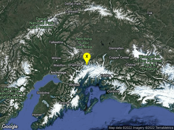 earthquake 62km ESE of Sutton-Alpine, Alaska