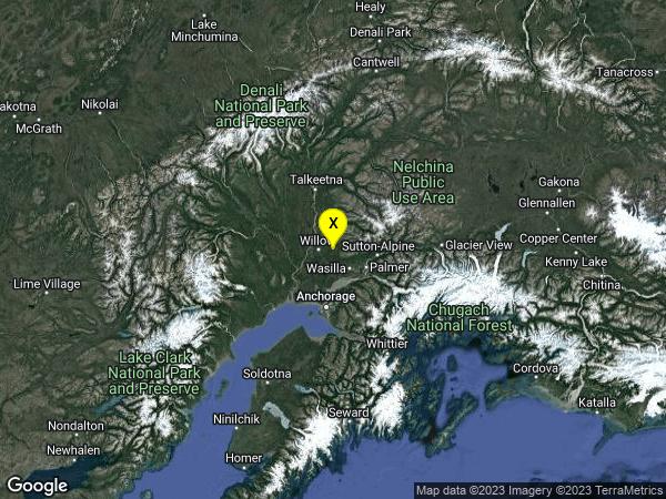 earthquake 14 km E of Willow, Alaska
