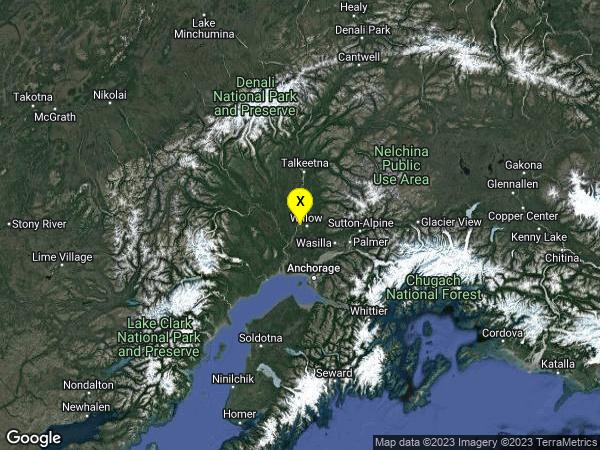 earthquake 9km WNW of Willow, Alaska